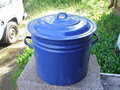 Выварка синяя металлическая эмалированная