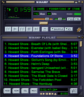 Winamp - главное окно программы, скин Classic